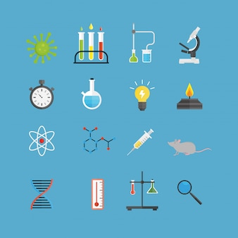 Graphic set chemical laboratory science flat vector.