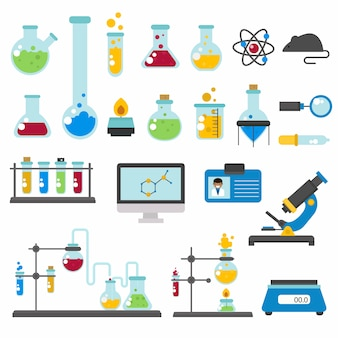 Graphic set chemical laboratory science flat .
