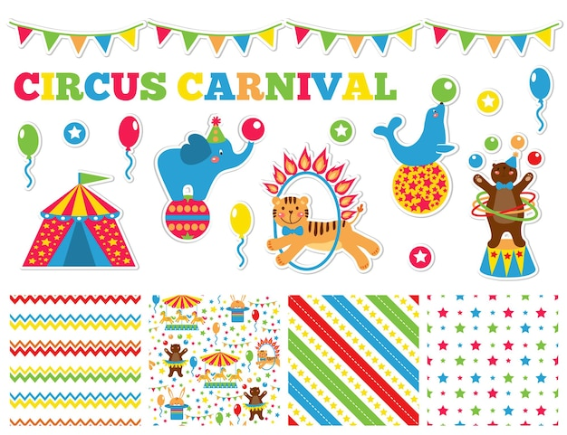 Graphic set with cute circus animals