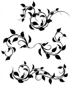 葉といばらのグラフィックシルエットブランチ
