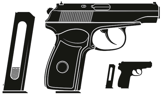 Graphic silhouette handgun pistol with ammo clip