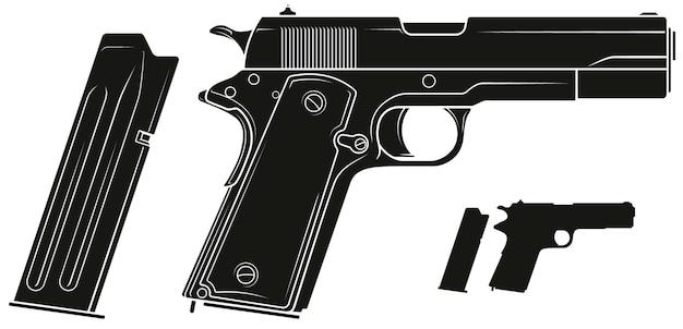 Пистолет с графическим силуэтом и патронами