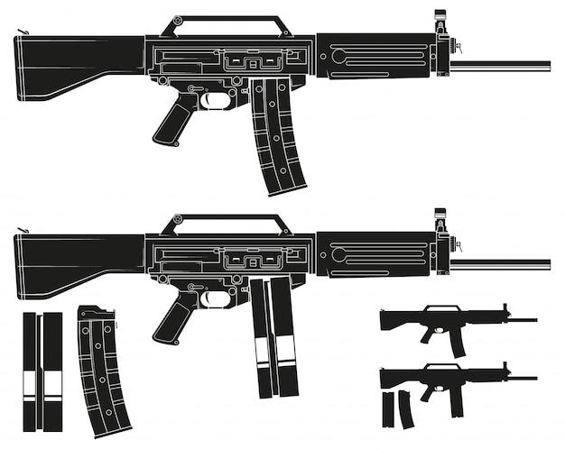 그래픽 실루엣 현대 자동 galil 소총