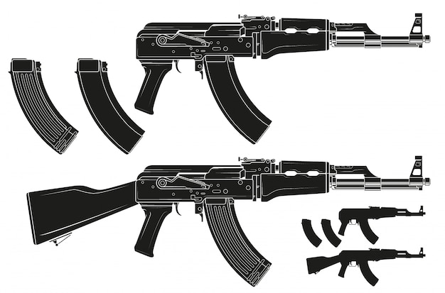 Graphic silhouette modern automatic russian rifle