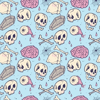 Graphic skull horror pattern