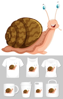 Graphic of snail on different product templates