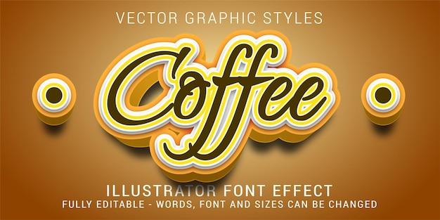 Графические стили кофе редактируемый текстовый эффект