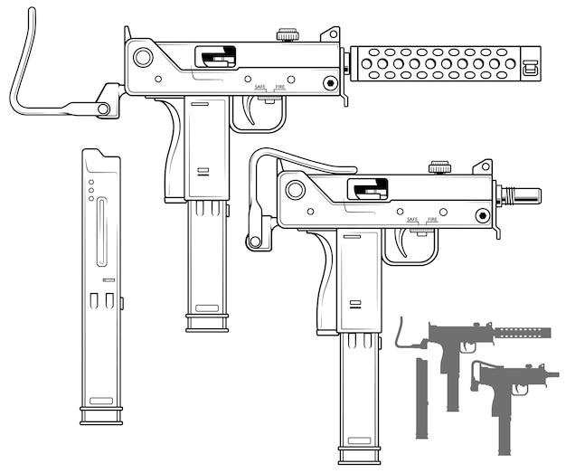 弾薬クリップ付きグラフィック短機関銃
