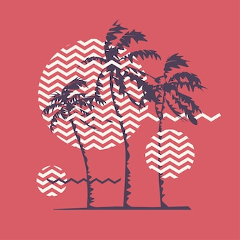 Graphic t-shirt geometric design with stylized palm trees on the topic of summer, holidays, beach, seacoast, tropics. vector illustration.
