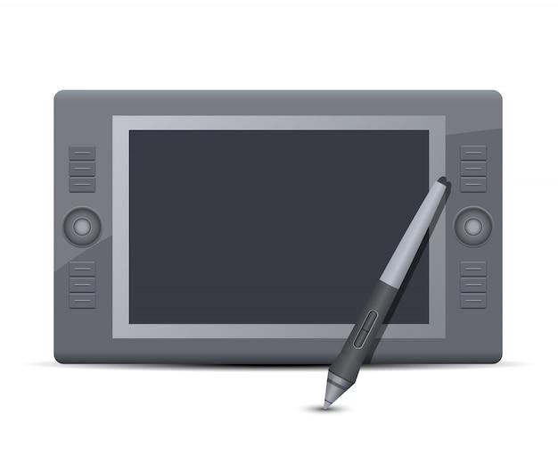 Графический планшет дизайн иллюстрация на белом фоне