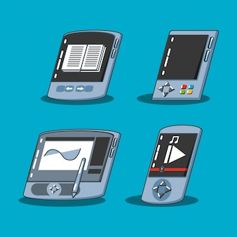 Graphic tablet with set devices