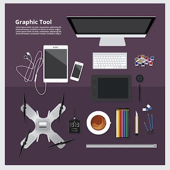 Graphic tool workspace isolated vector illustration
