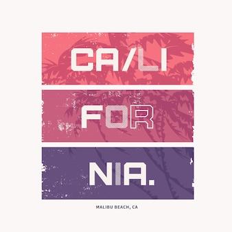 カリフォルニアのベクトルイラストのトピックに関するグラフィックtシャツのデザイン