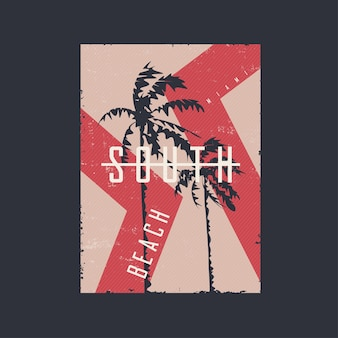 Graphic tshirt design print poster on the topic of miami beach florida vector illustration