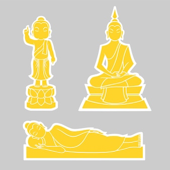 Graphic vector of buddha for visakha puja day. birth, enlightenment and extinction.