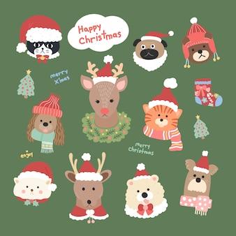 Графический вектор милые головы животных коллекции в новогодней одежде шляпу санта-клауса