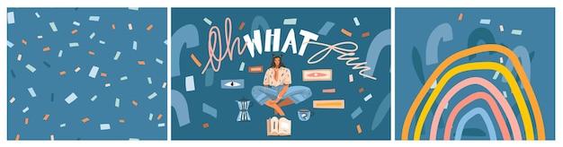 젊은 학생 소녀 캐릭터가 커피를 마시고 독서를 하는 그래픽 벡터 여성 컬렉션
