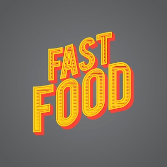 Graphic vector illustration fast food word concept