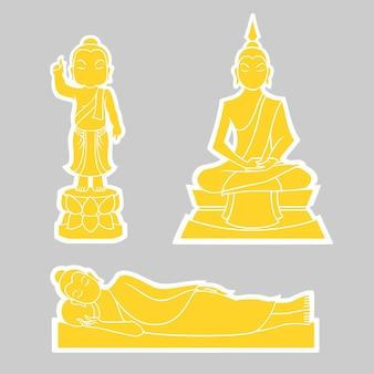 Графический вектор будды для дня вишакхи пуджи. рождение, просвещение и исчезновение.