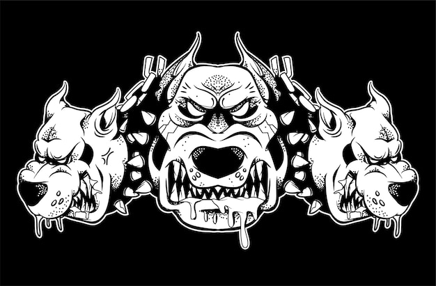 Graphic very big angry dangerous fighters security dog which show his big teeth and annoyed to growl. black white design illustration modern  style character for print isolated white background.