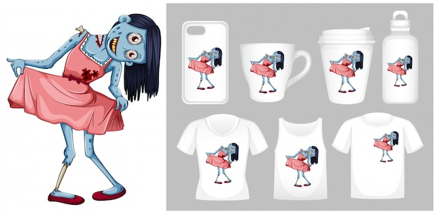 Graphic of zombie in pink dress on different product templates