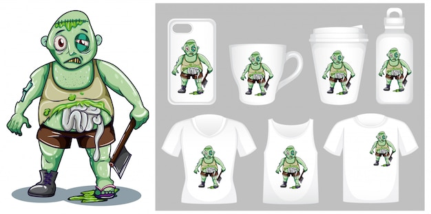 Graphic of zombie with axe on different product templates