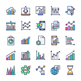 Graphical analysis flat icons pack