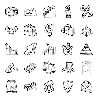 Graphical data and finance hand drawn icons pack