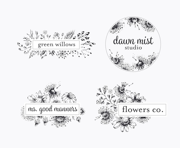 Graphical floral labels with hand drawn flowers and leafs, botanical logo package.