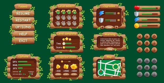 모바일 게임 또는 앱용 그래픽 사용자 인터페이스 gui. 디자인, 버튼 및 아이콘.
