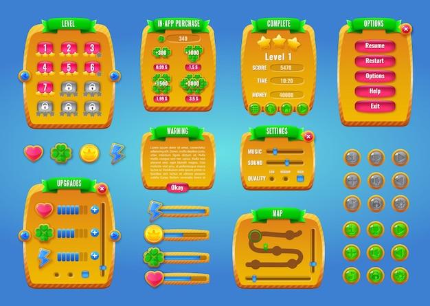 モバイルゲームまたはアプリ用のグラフィカルユーザーインターフェイスgui。
