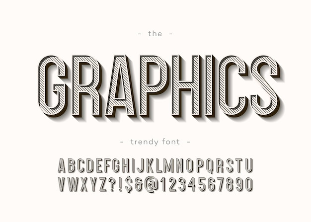 Graphics alphabet 3d bold modern typography sans serif style for book