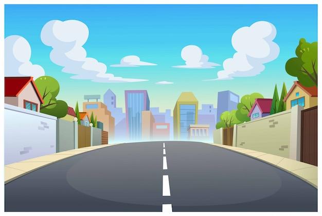 낮에 그래픽, 마을 및 도로.