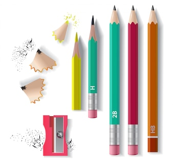 Graphite pencils set, sharpener and sharpening shavings. For banners, posters
