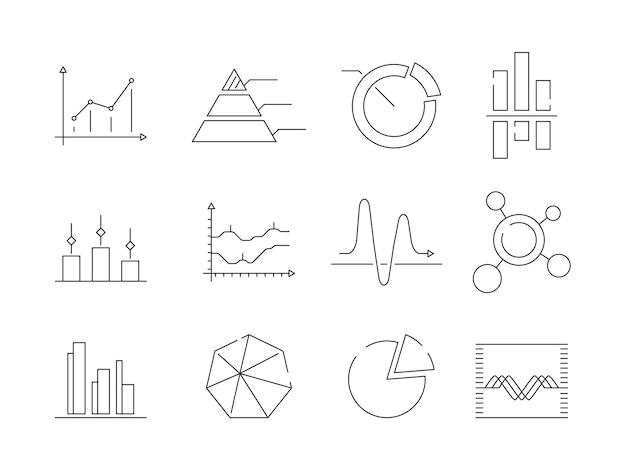 Graphs charts icons. business statistics graphic outline vector symbols isolated