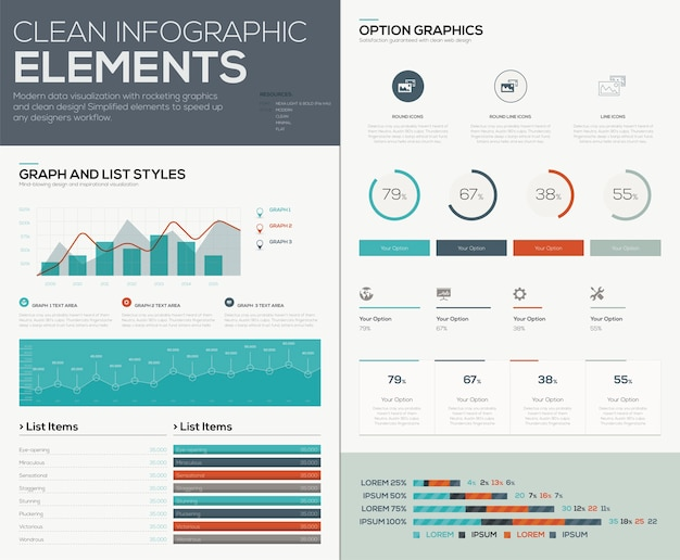 Graphs and pie charts for infographic vector data visualization
