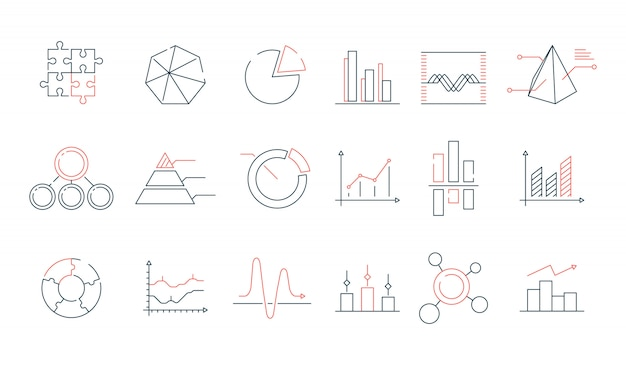 Graphs statistics icon set