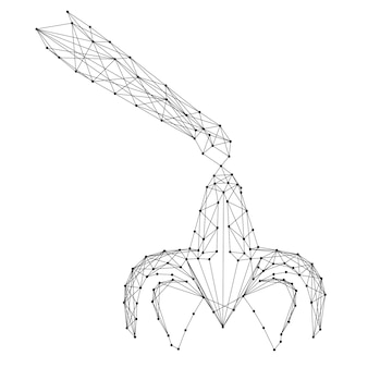Захват, загрузочное устройство, из абстрактных футуристических полигональных черных линий и точек. векторная иллюстрация.