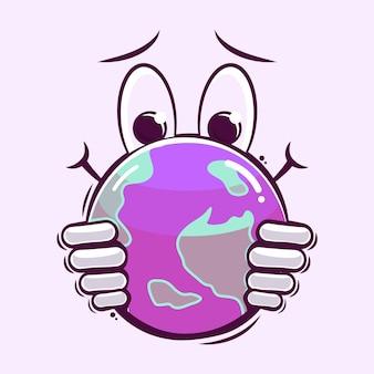 Grasping the planet cartoon illustration