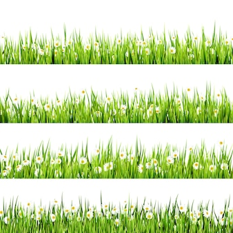 草と花のボーダーアートデザイン。