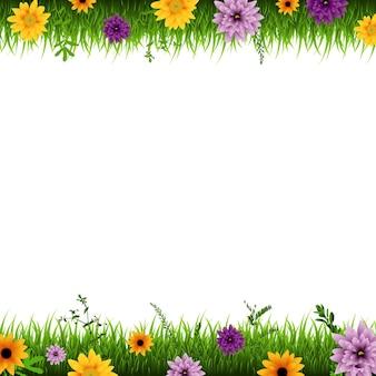 잔디와 꽃 테두리