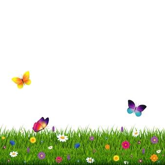 Трава и цветы на белом фоне Premium векторы