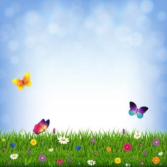 Трава и цветы с градиентной сеткой, иллюстрация