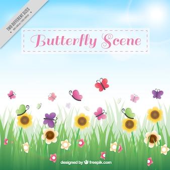 Erba sfondo con fiori e farfalle