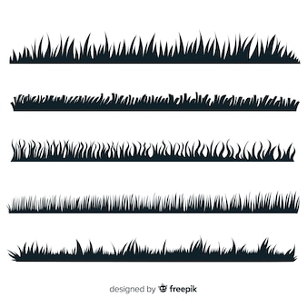 Grass border silhouette collection isolated