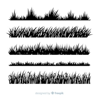 Трава бордюрный силуэт реалистичный дизайн