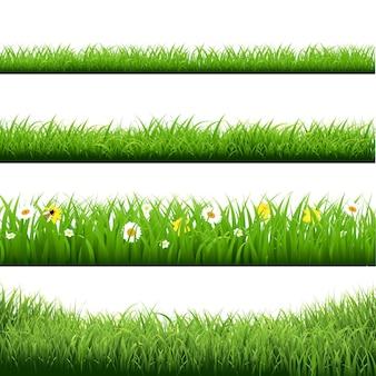草のボーダーと花セットイラスト