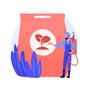 Иллюстрация вектора абстрактной концепции удобрения травы. услуги садоводства, быстрый рост, зеленый цвет, уход за газоном, добавки, питательные вещества почвы, абстрактная метафора разбрасывателя гранул.