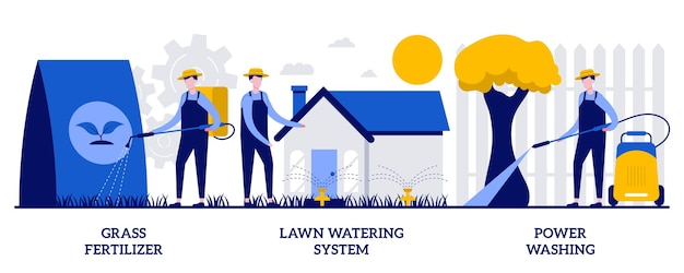 Grass fertilizer, lawn watering system, power washing concept with tiny people. gardening services vector illustration set. garden hose, soil nutrients, pop-up sprinkler, dust and mold metaphor.