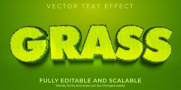 Текстовый эффект зеленой травы, редактируемая природа и стиль текста растений